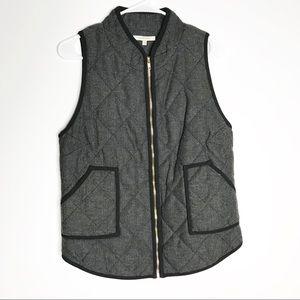 41 Hawthorne Shara quilted herringbone gray vest